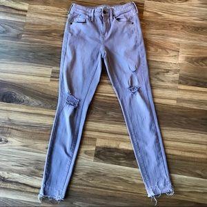 Wassio High Rise Purple Distressed Jeans